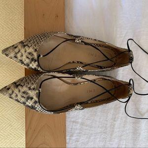M.Gemi Snakeskin Lace-Up Flats, Size 38.5